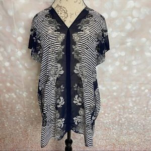 CAbi Yacht Floral Stripe Tunic Top 5024